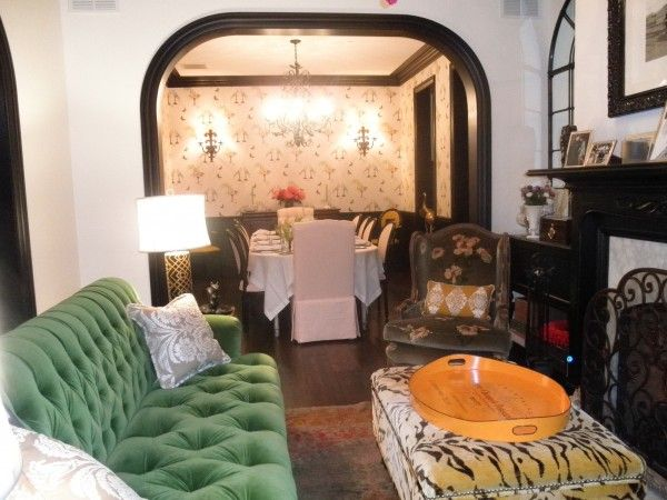 Interiors · Bailey Quin McCarthy. Tiger Print Ottoman And Green Couch.