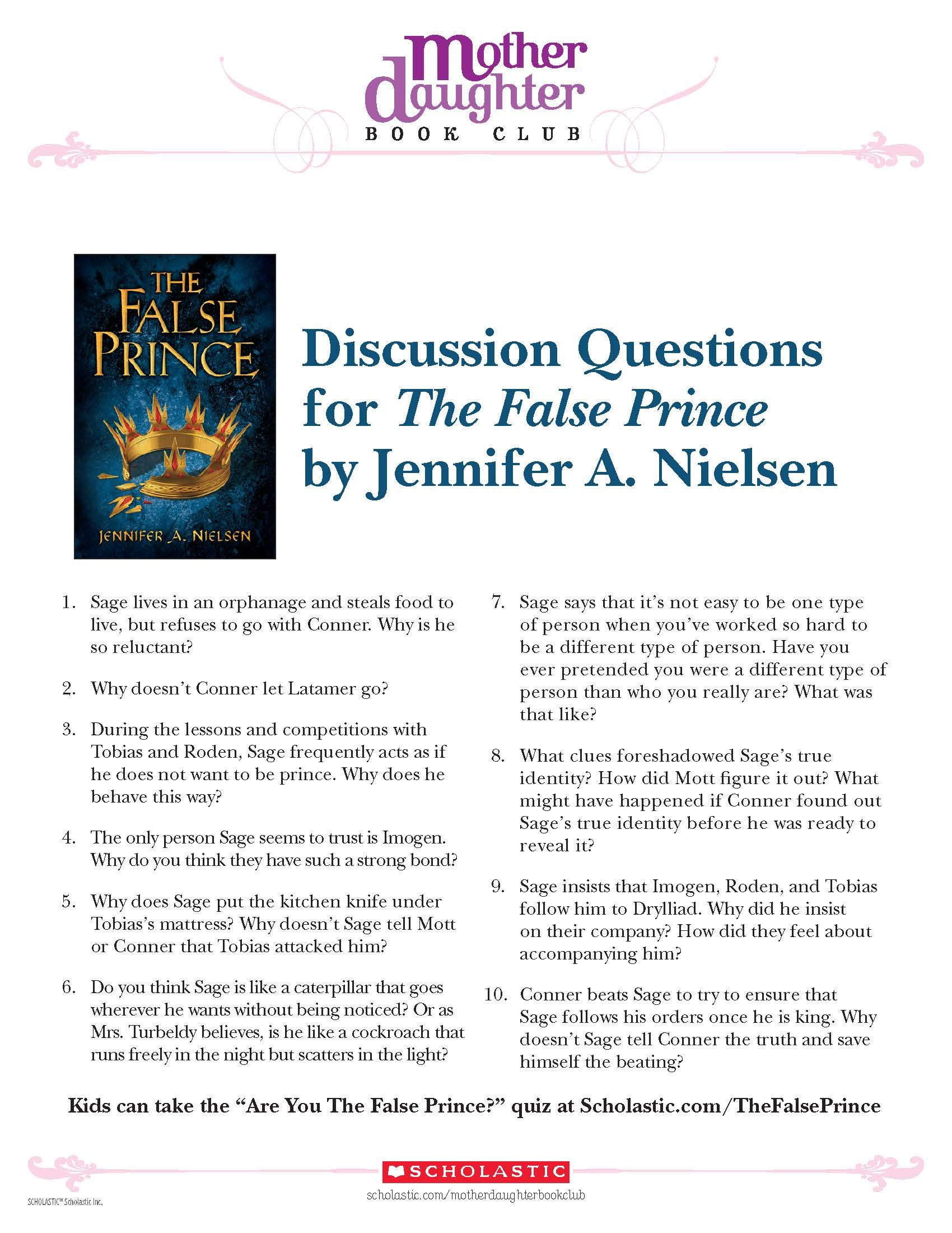 discussion questions for the false prince by jennifer a nielsen rh pinterest com Book Discussion Chart Caucasia Book Discussion Guide