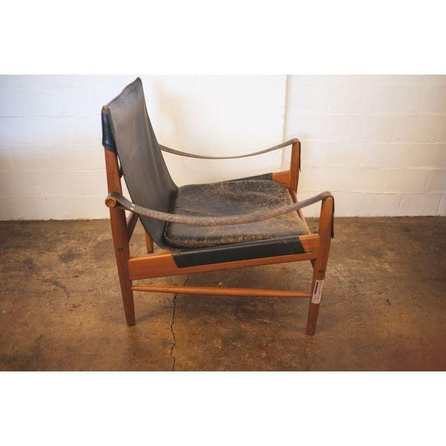 Hans Olsen Black Leather Wood Safari Chair Safari