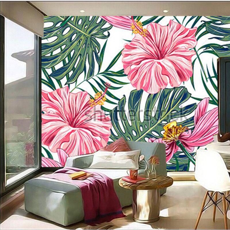 Custom-3D-large-mural-font-b-tropical-b-font-flowers-font-b-palm-b ...