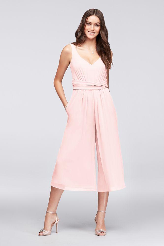 Tie-Back Crinkle Chiffon Bridesmaid Jumpsuit Style F19741, Bouquet, 0 #bridesmaidjumpsuits Tie-Back Crinkle Chiffon Bridesmaid Jumpsuit Style F19741, Petal, 12 #bridesmaidjumpsuits