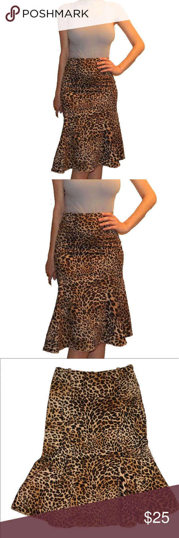 Leopard Print Skirt Bough in a boutique, worn only a couple times. Skirts Midi