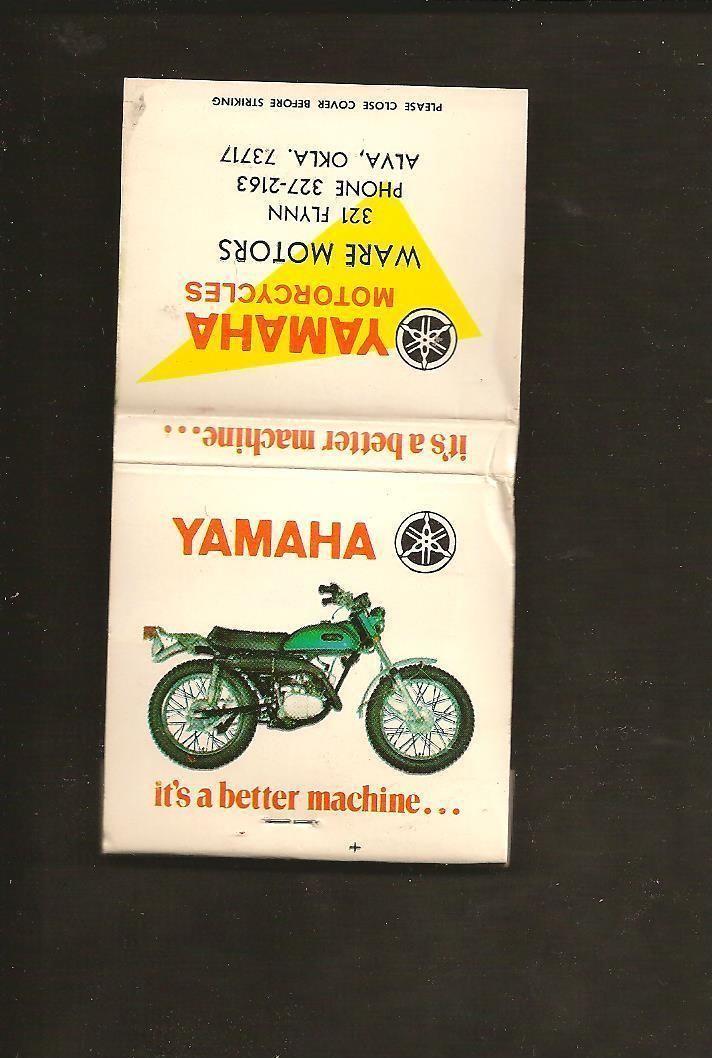 1970's Yamaha It's A Better Machine Enduro Matchbook Ware Motors Alva OK Unused   eBay