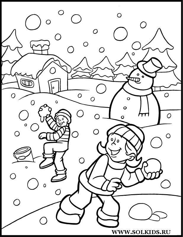 Kleurplaat Winter Invierno Dibujos Para Colorear Paisajes