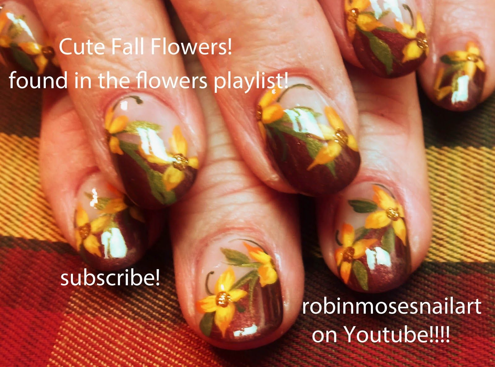 fall+nail+designs | fall flowers diagonal nail art bouquet find all ...