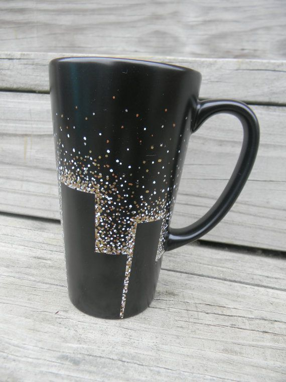 Black Coffee Mug Tall Hand Painted Starry Night By Reibugstyles