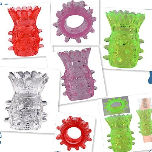 Assorted Color Pinapple Silicon Finger Fun Function Cock Ring Sleeve For Men J0919