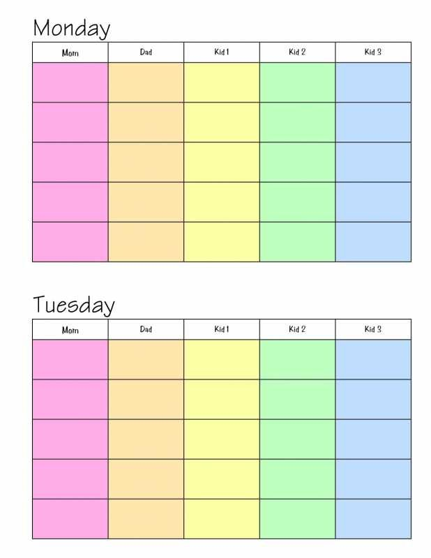 Day Planner Printable Weekly For A Family Iworkcommunity Templates Exchange