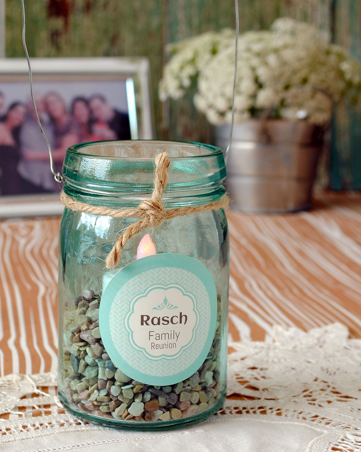 Make Centerpieces For The Family Reunion With Mason Jars Personalize With A Custom Circle Sticker Family Reunion Reunion Centerpieces Mason Jars