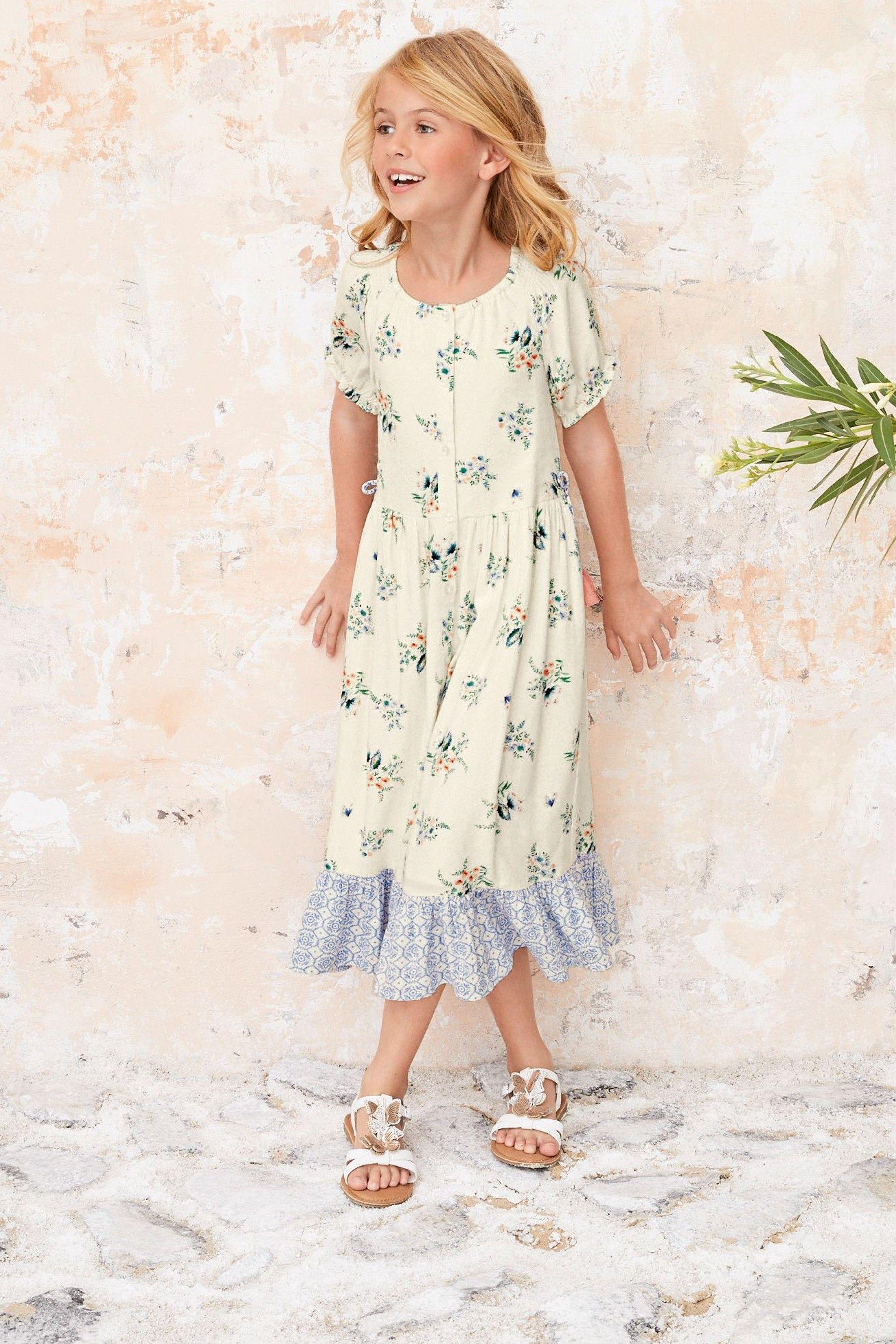 Girls Next Ecru Floral Prairie Style Maxi Dress (3 16yrs