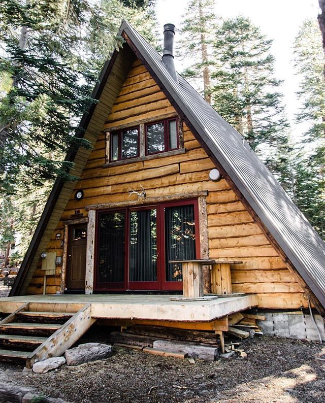 A frame log cabin. (With images) Tiny house cabin, A