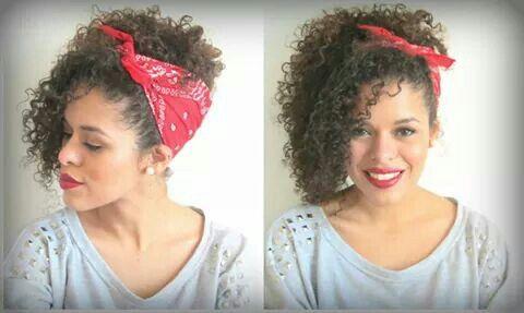 Updo Curly Hair Bandana Rayza Nicacio Curly Girl Hairstyles Curly Hair Inspiration Curly Hair Styles Easy