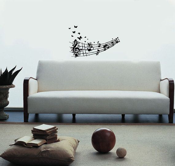 Musica nota scala farfalla Housewares parete vinile Decal arte moderno Design murales Interior Decor adesivo rimovibile camera finestra en43