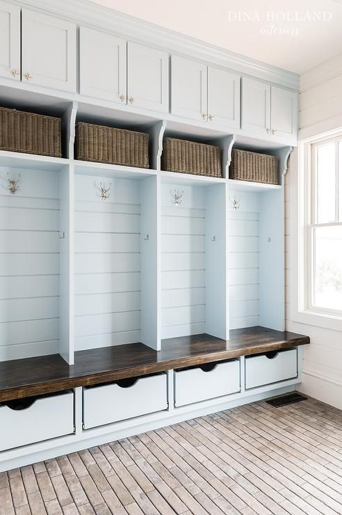 Sky Blue Mudroom Boasts Built In Lockers Adorned With Rejuvenation Pittock Double Hooks Sandwiched Between Cabinets Schaub