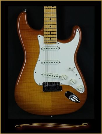 Fender Custom Shop Flame Maple Top American Custom Stratocaster®, Maple Fingerboard, Honey Burst at The Guitar Sanctuary McKinney Texas