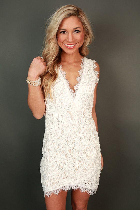 Bridal shower dress!!Bat My Lashes Lace Mini Dress in White | My ...