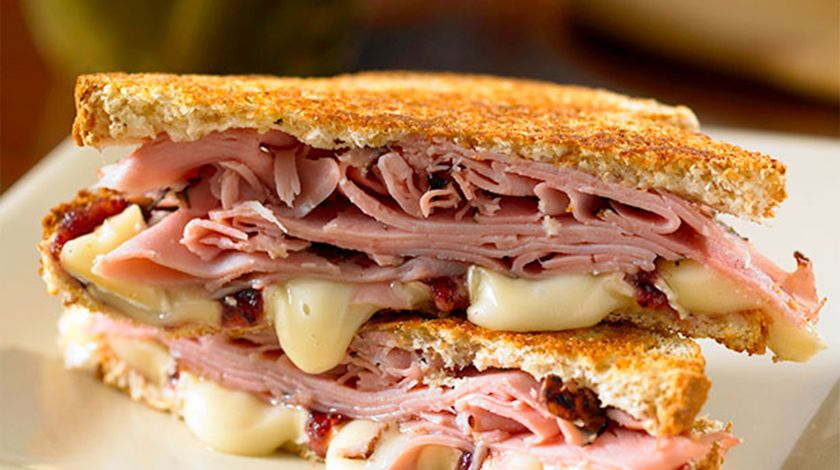 Grilled whole grain sandwiches with ham camembert and