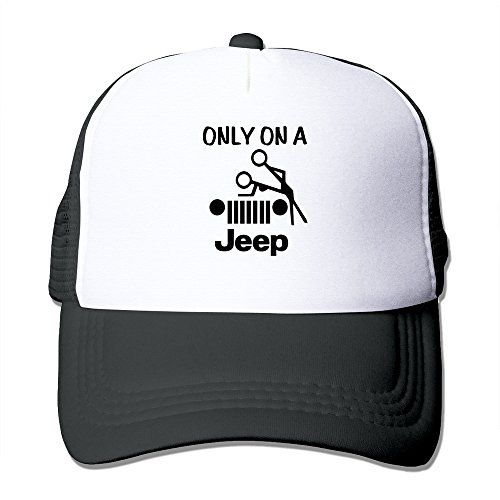 Trucker Style Only On A Jeep Black and White Cap