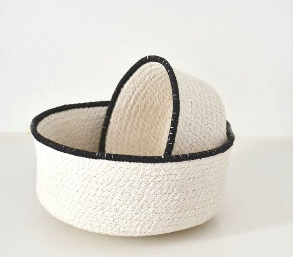 Cotton rope bowls black and white Scandinavian style a perfect basket for a natural home decor. Rope bowls set