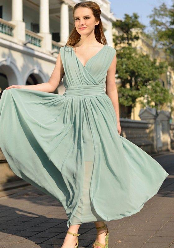 Light Green Plain Sleeveless Chiffon Maxi Dress Chiffon Dress Green Chiffon Dress Ankle Length Dress