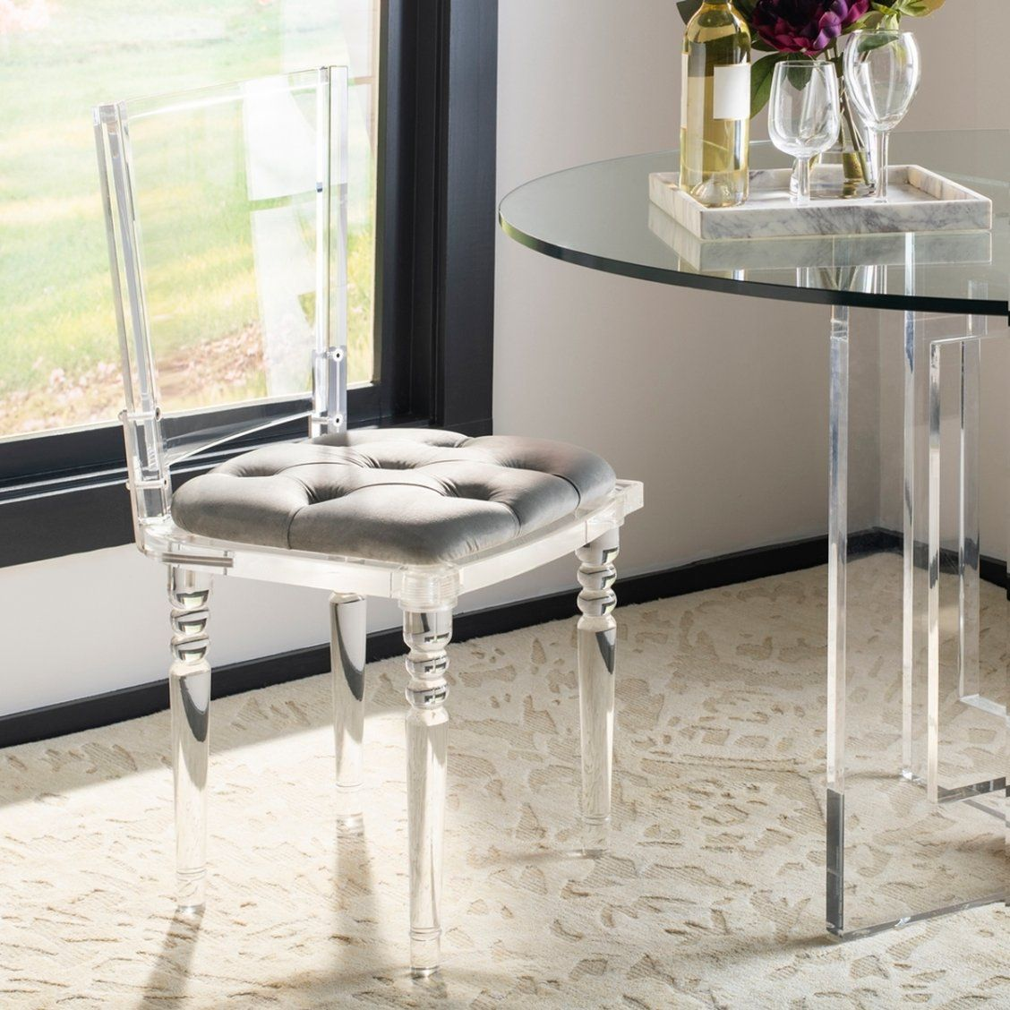 Charming And Chic This Contemporary Acrylic Dining Chair Lends A