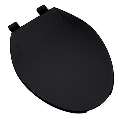 PlumbingTechnologiesLLC Deluxe Plastic Contemporary Round Toilet Seat Finish: Black