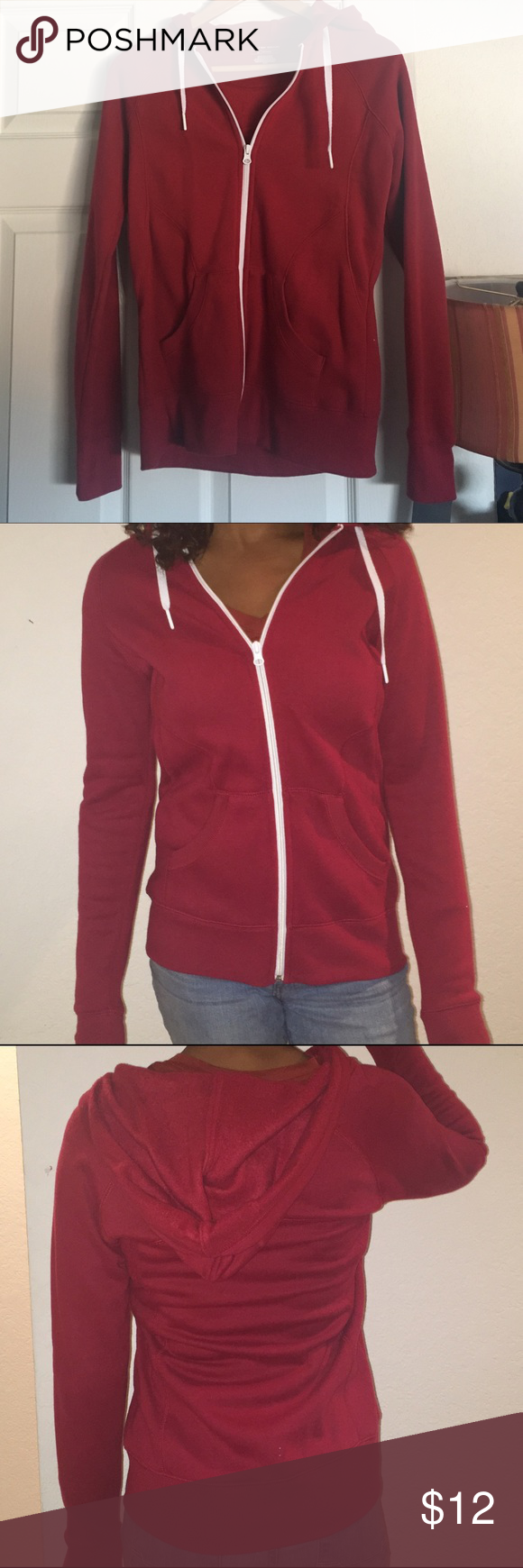 ✨New Red ZipUp Hoodie brand new red hoodies with a white zipper, in great condition, brand new never work with tags Jackets & Coats
