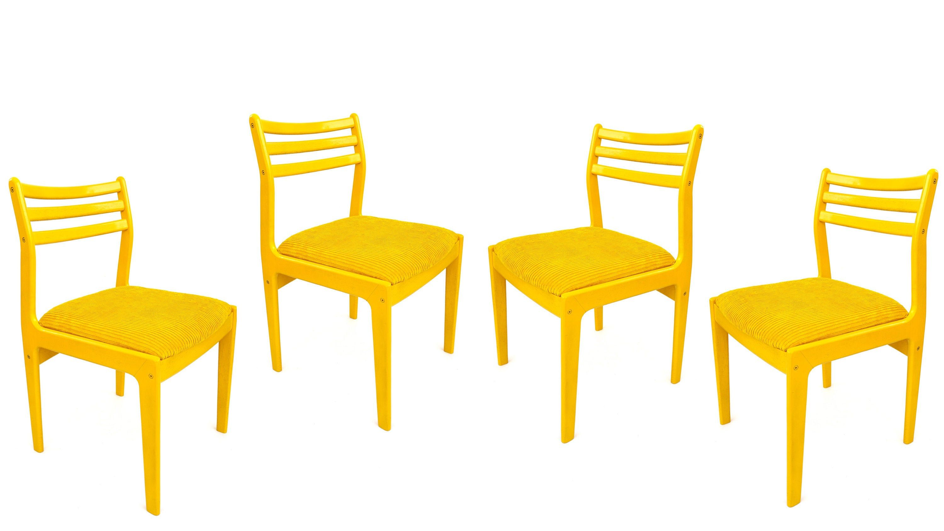 Mid Century Modern Warm Yellow Chairs Upholstered Dining Chairs