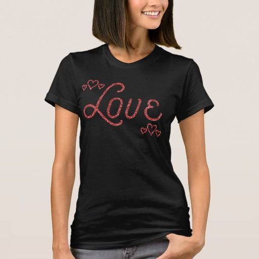 Valentines Day Shirts For Her Red Glitter Effect