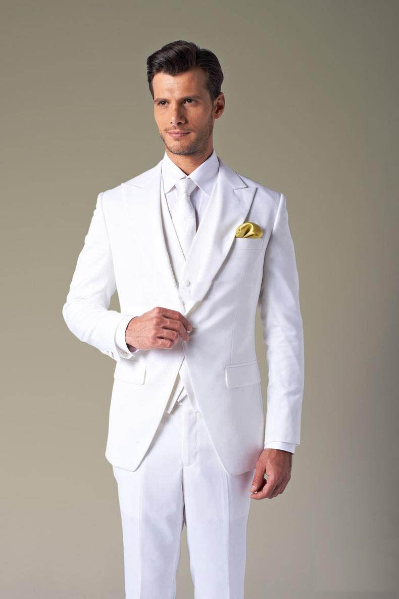 Click to buy ucuc white wedding tuxedos white menus bridal suits groom