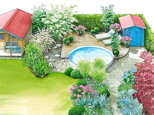 1 Garten 2 Ideen Gestaltungsideen Fur Einen Swimmingpool Garten Gestalten Gartengestaltung Gartenbeet