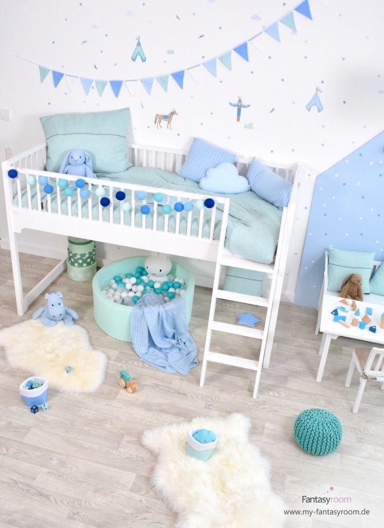 Modernes Indianerzimmer Fur Jungen In Blau Und Mint Kinderzimmer