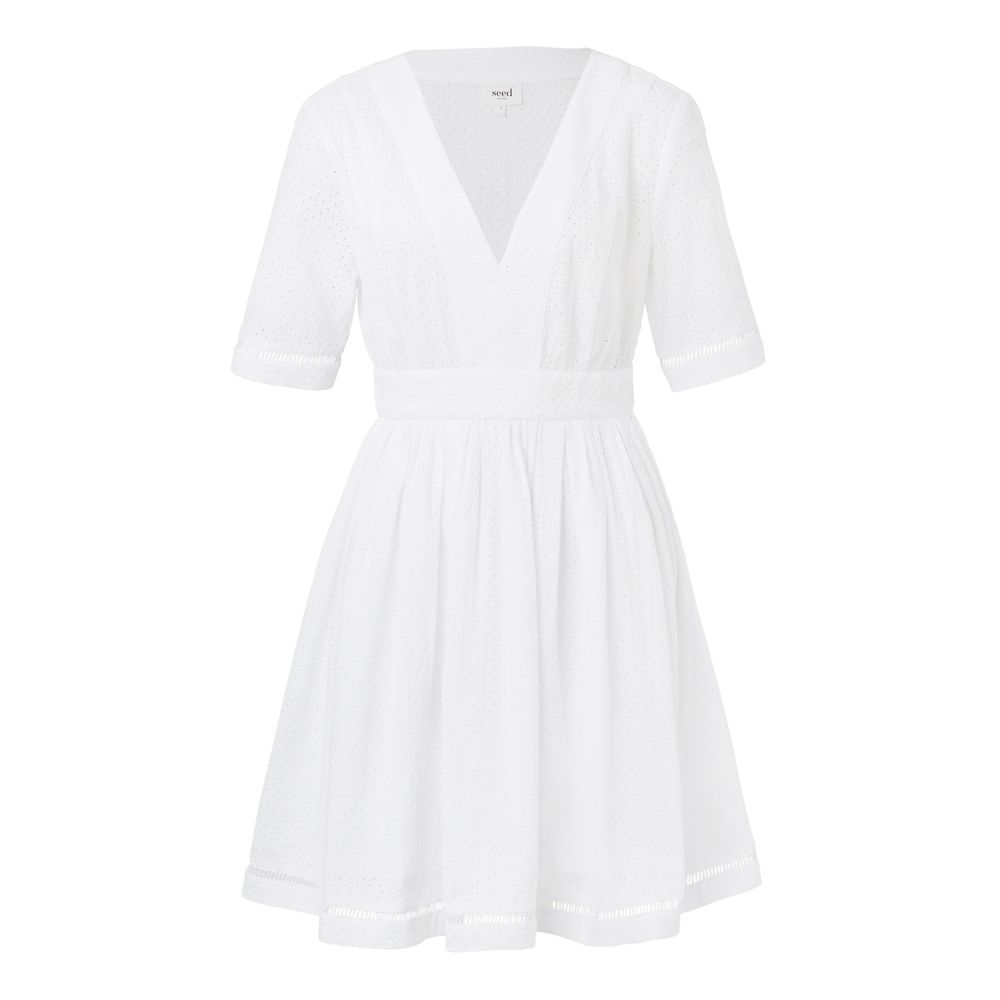 5238e98dbe1a 100% Cotton Broderie Fit & Flare Dress. Fitted yet comfortable style  features v neckline, 3/4 sleeves, a fitted waist and floaty body with  centre back zip ...