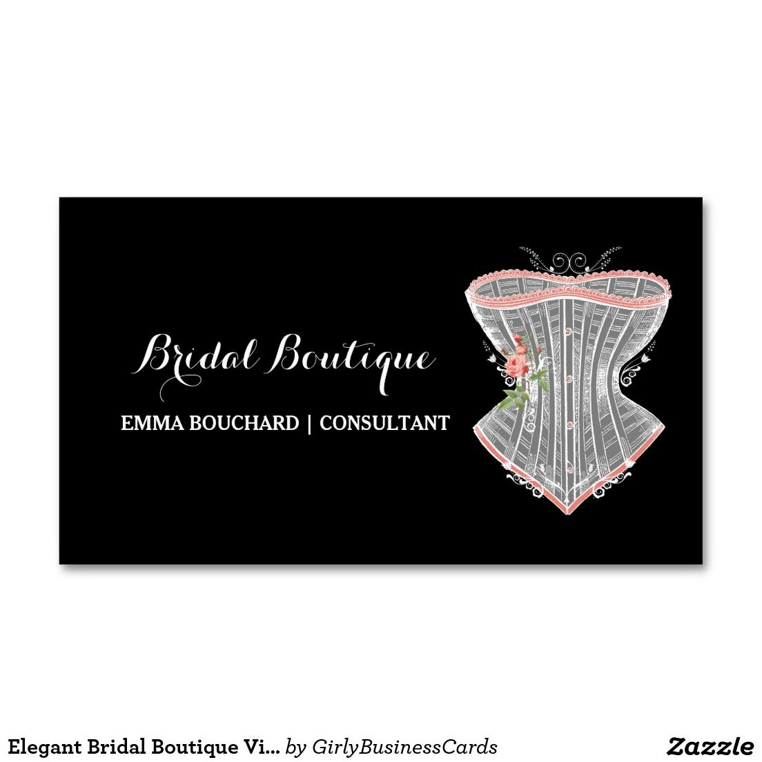 Elegant bridal boutique vintage corset lingerie business card elegant bridal boutique vintage corset lingerie double sided standard business cards pack of 100 reheart Gallery