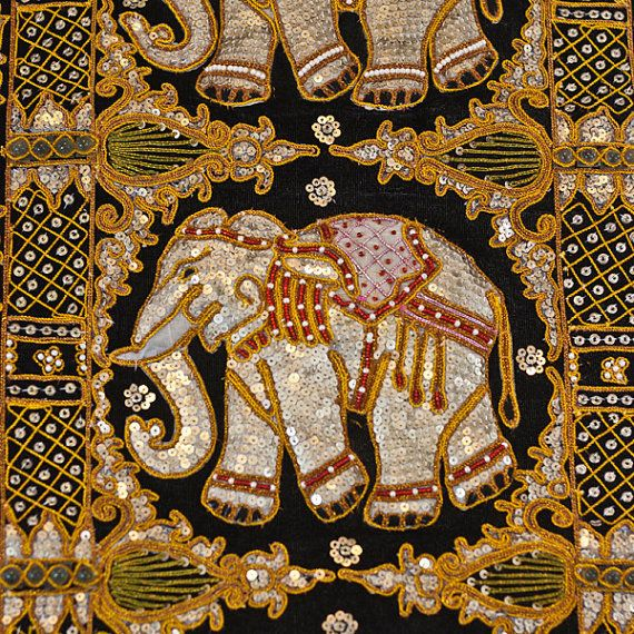 Elephant Wall Hanging Kalaga Needle Work Embroidery Wall