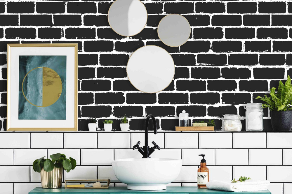 Black Brick Pattern Wallpaper Peel and Stick and Pre