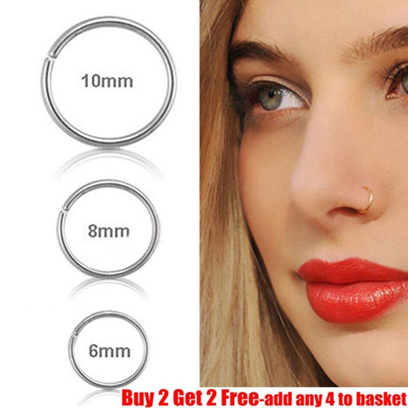 0 99 Small Thin 6mm 8mm 10mm Eyebrow Nose Ear Steel Silver Stud