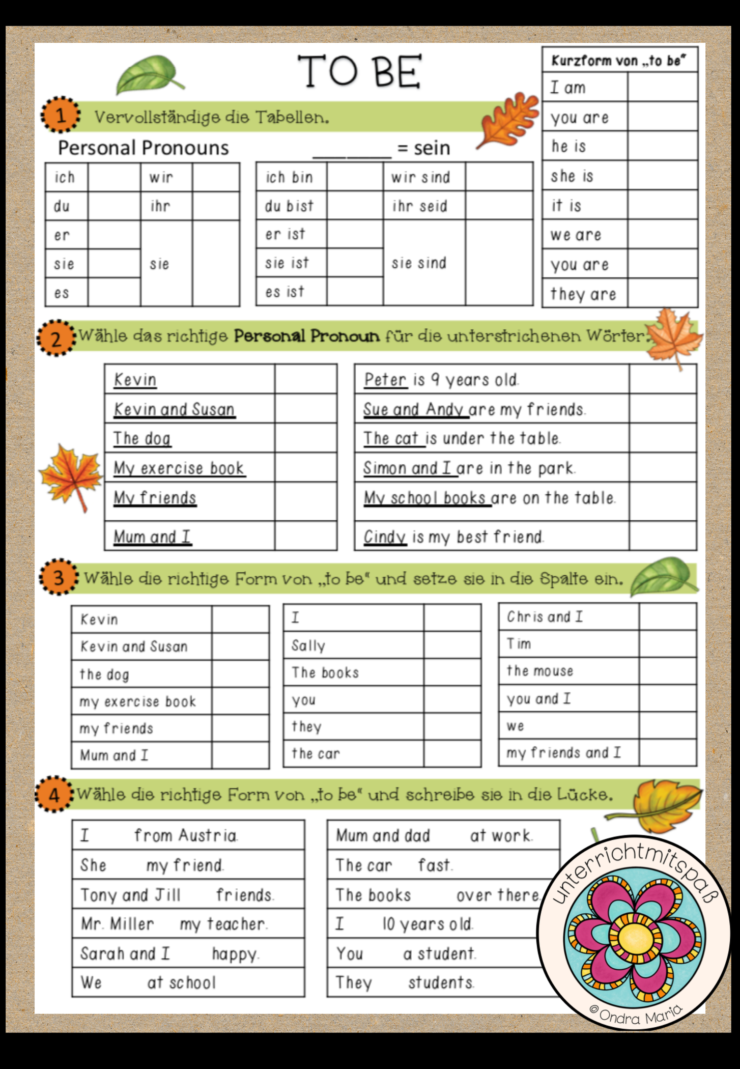 To Be Affirmative Personal Pronouns Worksheet