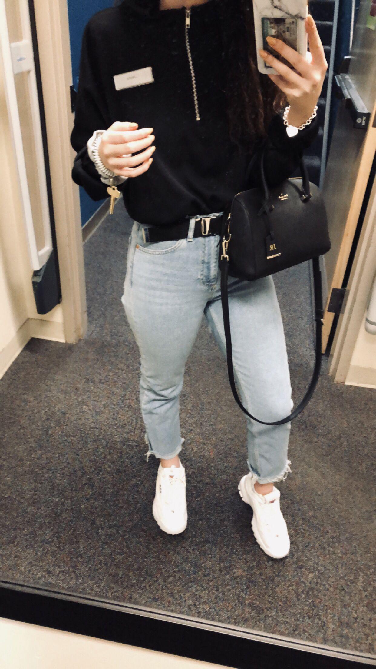 16f3464f2ca •Black Pretty Little Thing Quarter ZIP • Topshop Light Wash Straight leg  Jeans• Brandy Melville Belt• White fila disruptors•