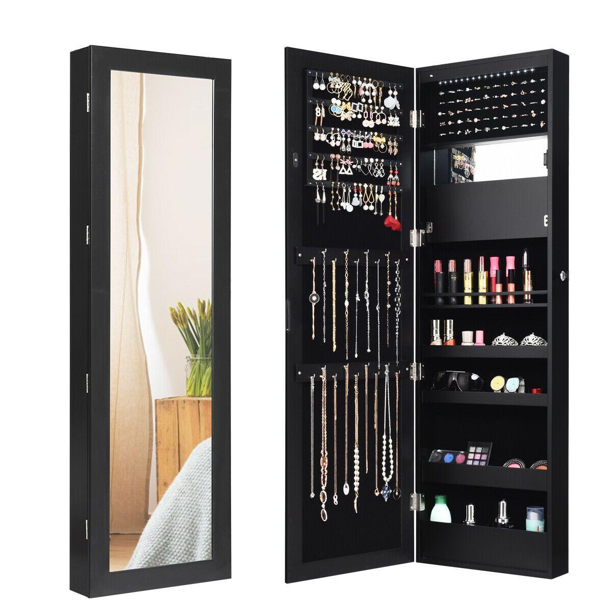 25++ Lockable wall door mount mirrored jewelry armoire cabinet information
