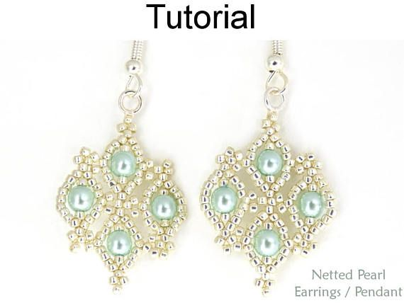 Beaded Earrings Pattern Jewelry Making Tutorial Pearls Simple Bead Patterns Netted Pearl Pendant Necklace 25898