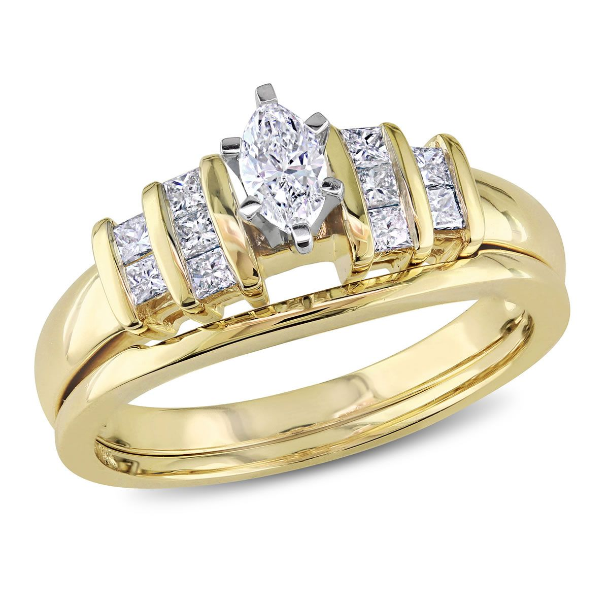 14k white gold i1i2 marquise and princess diamonds bridal