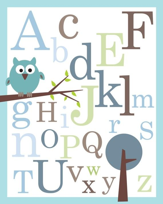 Baby Nursery Art Print Dog Abc Nursery Decor Alphabet Print: ABC Alphabet Poster Print 8X10