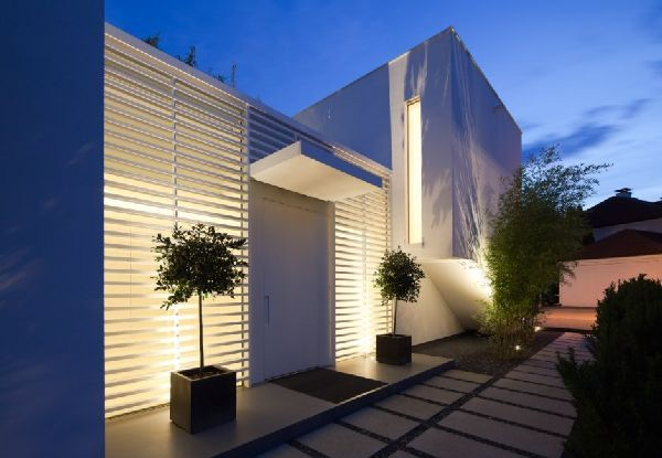 Nodern Outdoor Wall Lights | Outdoor Lighting Ideas At Modern House Twin  Cubic Form With Natural