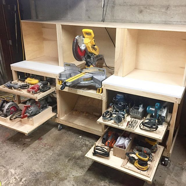 "Photo of Evan Cook on Instagram: ""Further cut station and tool storage progress. Upper section and dust hood are up, I still have to finish the downdraft system for the hood…"""