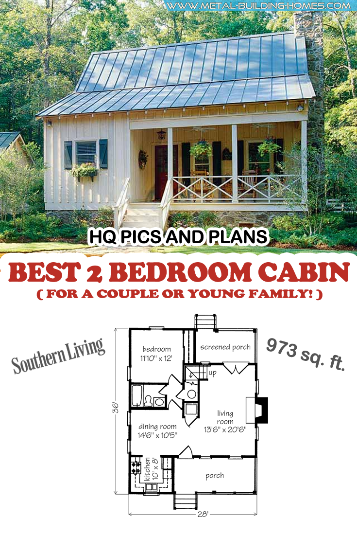 Best 2 Bedroom Cabin for a Couple or Young Family! (HQ Plans) | Metal Building Homes