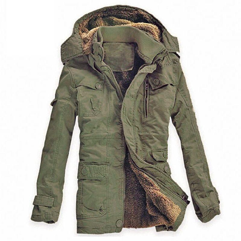 Uomini Giacca invernale Casuale di velluto Spessore Caldo Giacche Parka hombre esercito cotone Giacca A Vento da Uomo giacca Con Cappuccio lungo cappotto di trincea