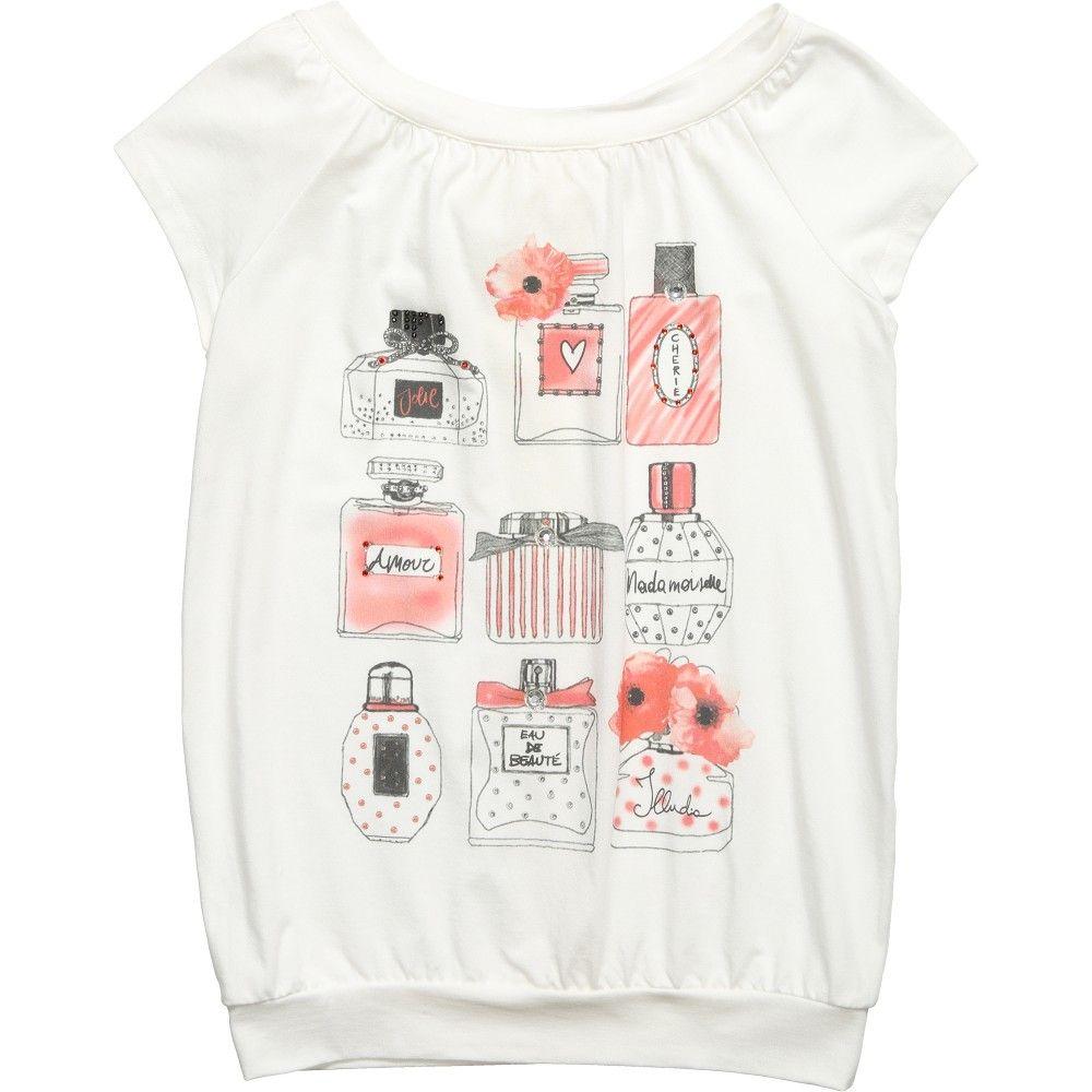 Illudia Girls White Perfume Print T-Shirt at Childrensalon.com ...