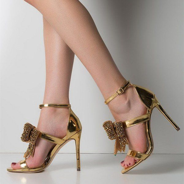 4161a0d96b01 Gold Bridal Sandals Rhinestone Bow Stiletto Heel Ankle Strap Sandals for  Formal event