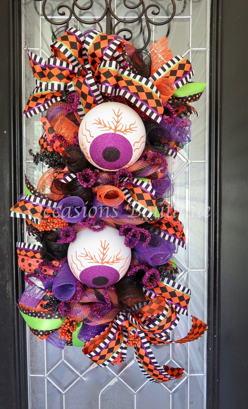 Window decor with wreath  halloween wreath door swag halloween decoration whimsical
